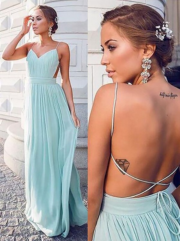 A-Line Spaghetti Straps Sleeveless Floor-Length With Ruched Chiffon Dresses