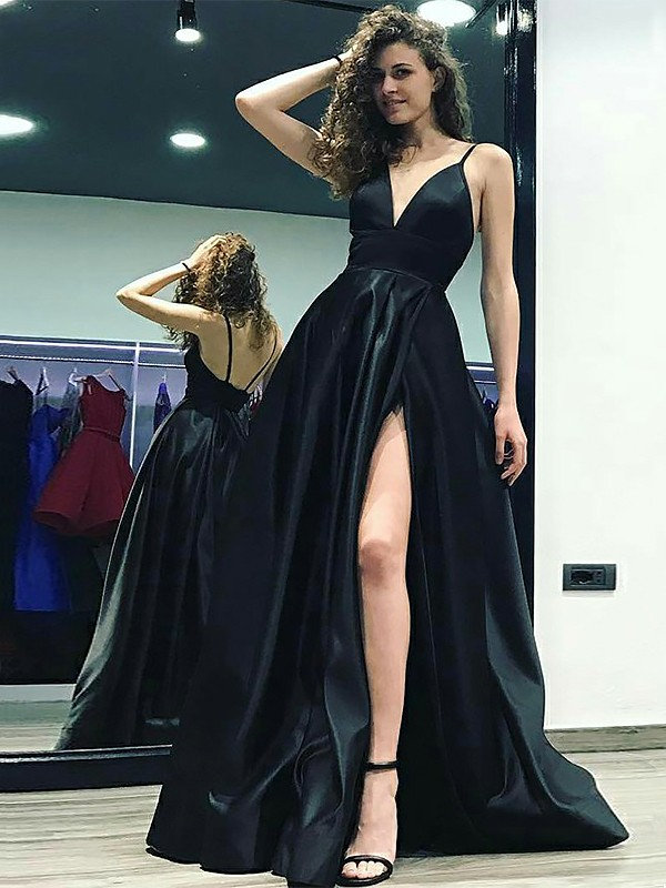 A-Line V-neck Sleeveless Floor-Length With Ruffles Satin Dresses