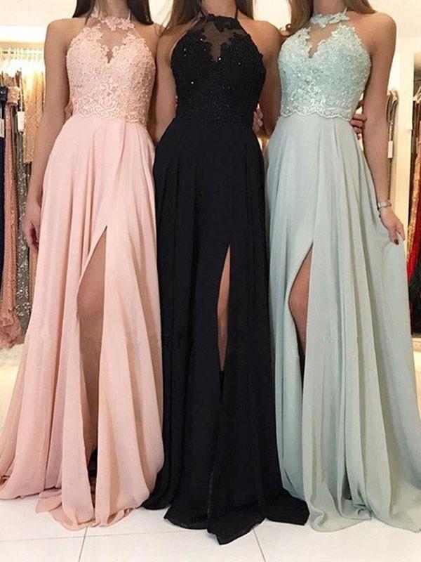 A-Line/Princess Halter Applique Sleeveless Ruched Sweep/Brush Train Chiffon Dresses