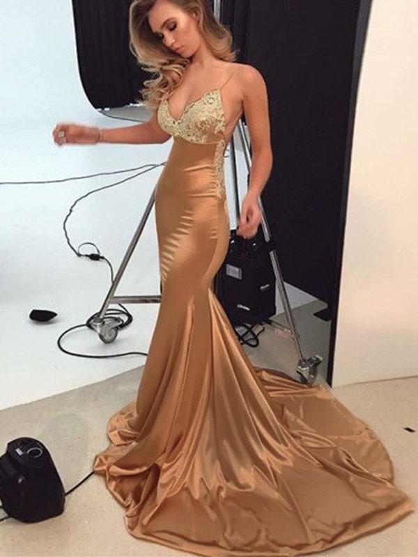 Trumpet/Mermaid Straps Sleeveless Sweep/Brush Train Silk like Satin Dresses