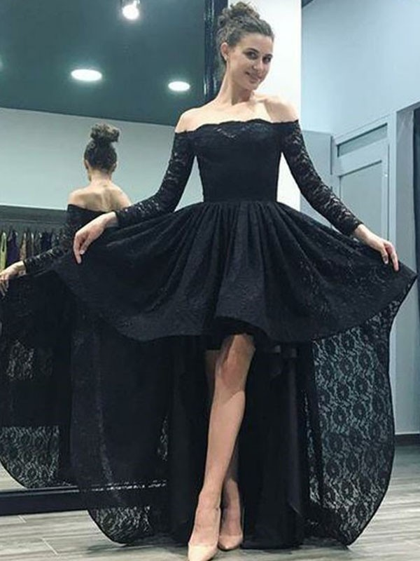 A-Line/Princess Off-the-Shoulder Long Sleeves Sweep/Brush Train Asymmetrical Lace Dresses