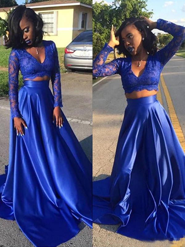 A-Line/Princess V-neck Long Sleeves Sweep/Brush Train Lace Satin Two Piece Dresses