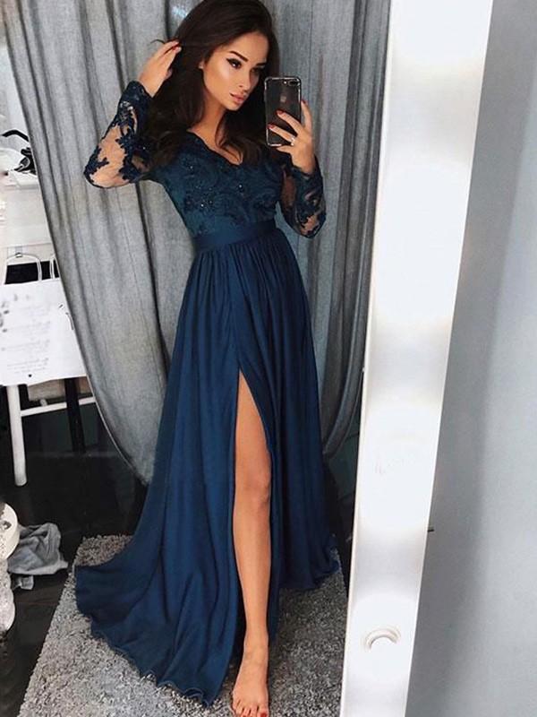 A-Line/Princess V-neck Long Sleeves Sweep/Brush Train Applique Ruched Satin Chiffon Dresses