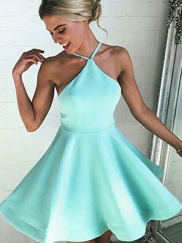 A-Line/Princess Satin Halter Sleeveless Pleated Short/Mini Dresses