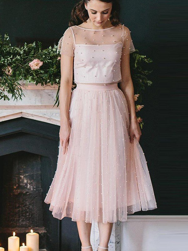 A-Line/Princess Tulle Short Sleeves Scoop Tea-Length Two Piece Dresses