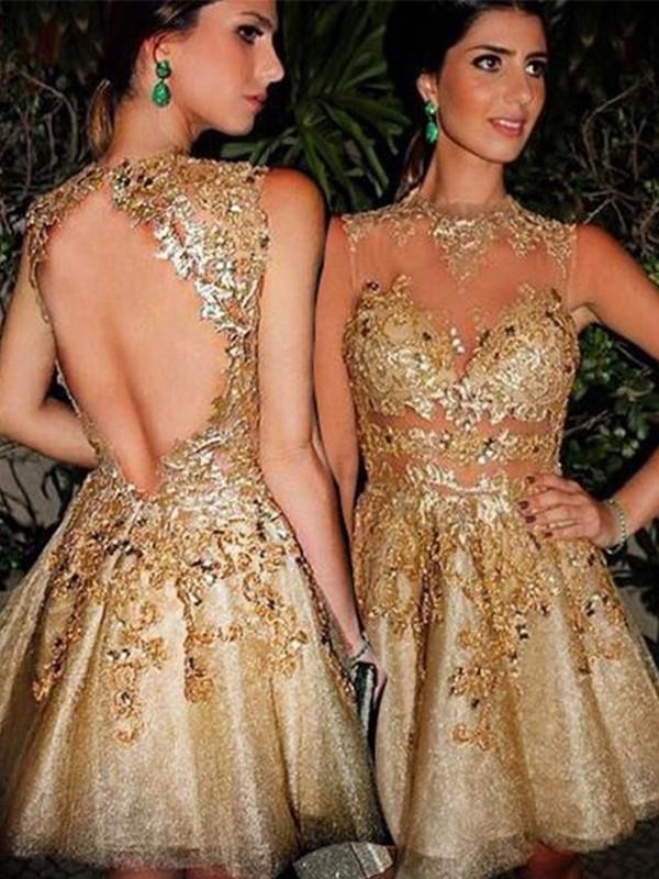 A-Line/Princess Bateau Sleeveless Tulle Applique Short/Mini Dresses