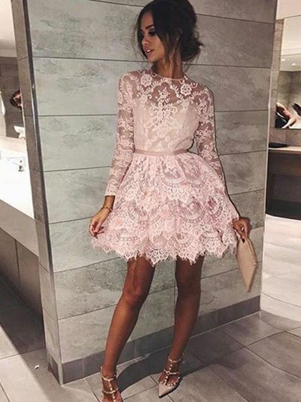 A-Line/Princess Bateau Long Sleeves Beading Lace Short/Mini Dresses