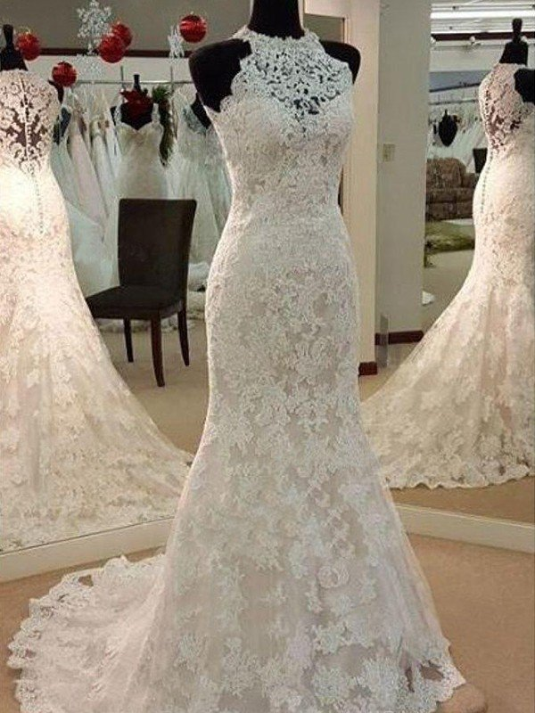 Sheath/Column Sleeveless Scoop Sweep/Brush Train Applique Lace Wedding Dresses