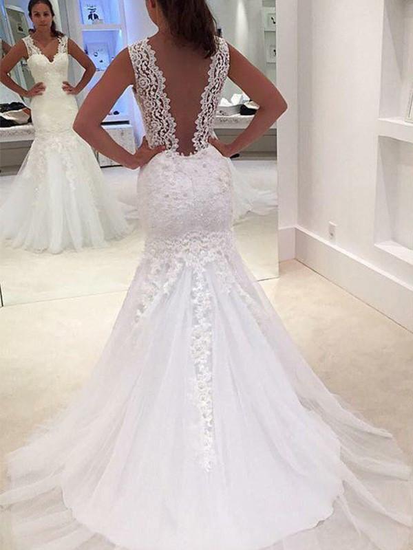 Trumpet/Mermaid Sleeveless Court Train V-neck Applique Lace Wedding Dresses