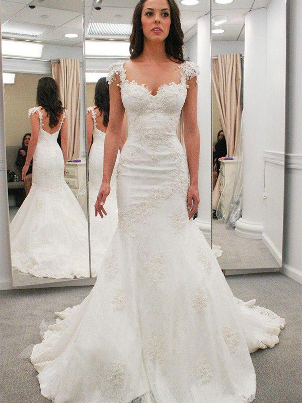 Trumpet/Mermaid Sweetheart Short Sleeves Applique Chapel Train Lace Wedding Dresses