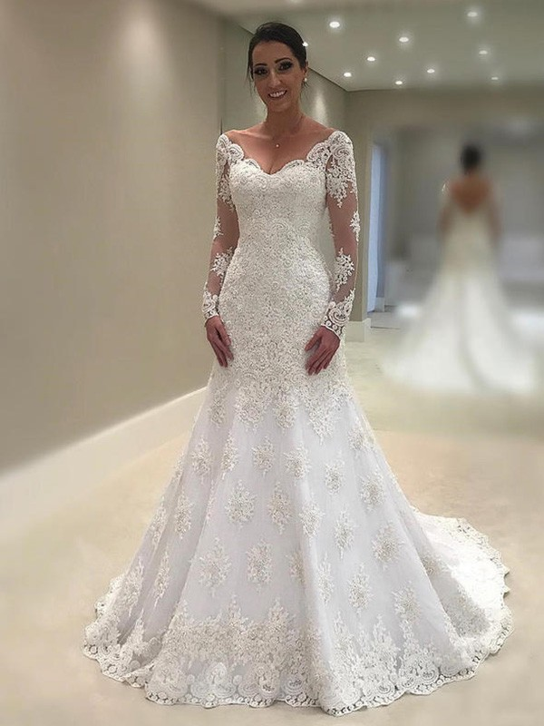 Trumpet/Mermaid Long Sleeves V-neck Court Train Applique Lace Wedding Dresses