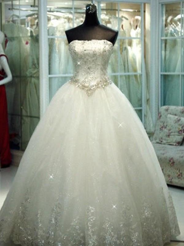 Ball Gown Strapless Beading Tulle Sleeveless Floor-Length Wedding Dresses