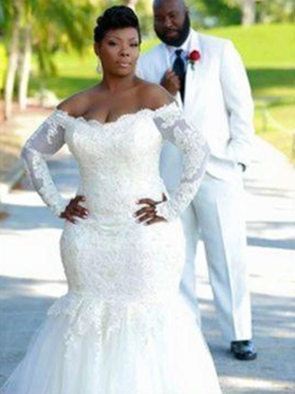 Trumpet/Mermaid Applique Tulle Long Sleeves Off-the-Shoulder Sweep/Brush Train Wedding Dresses