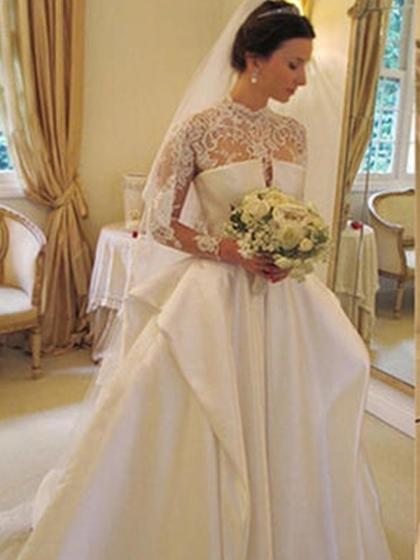 Ball Gown Satin Lace High Neck Long Sleeves Chapel Train Wedding