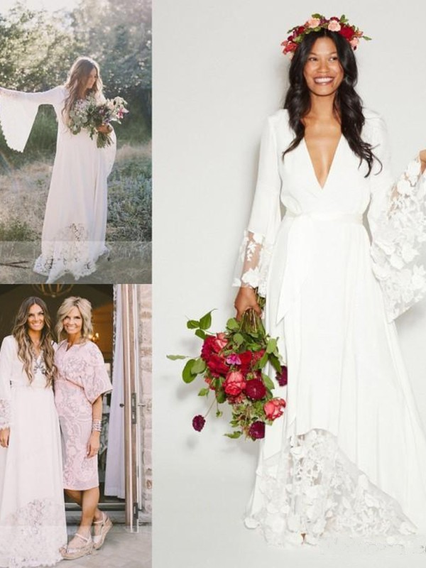 A-Line/Princess V-neck Lace Sash/Ribbon/Belt Chiffon Long Sleeves Sweep/Brush Train Wedding Dresses