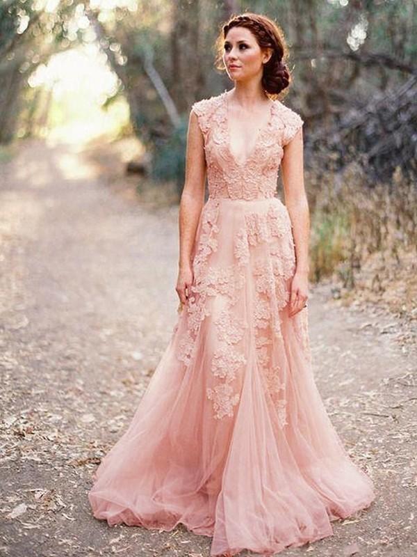 A-Line/Princess Applique Tulle V-neck Sleeveless Sweep/Brush Train Wedding Dresses