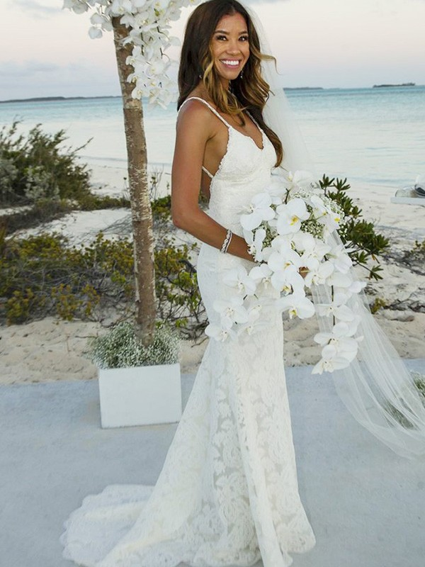 Trumpet/Mermaid Sleeveless Lace Spaghetti Straps Sweep/Brush Train Wedding Dresses
