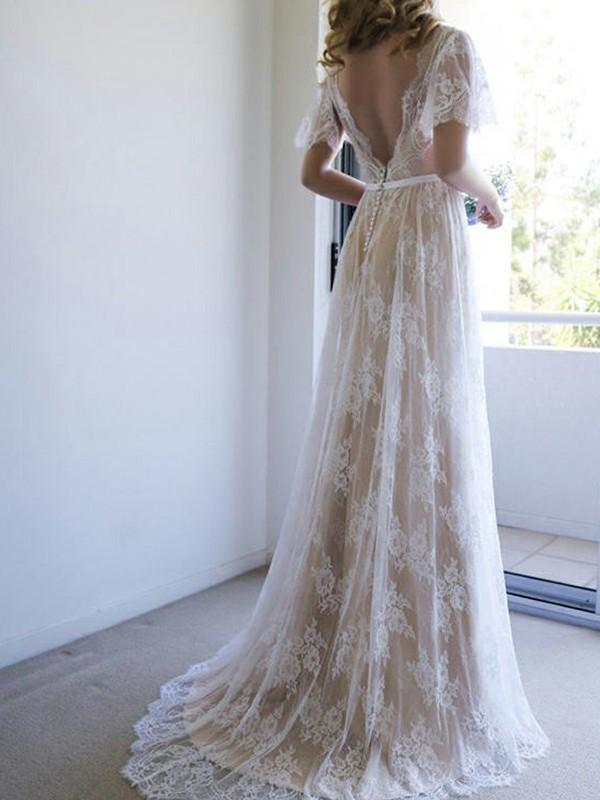 A-Line/Princess Lace Sash/Ribbon/Belt V-neck Short Sleeves Sweep/Brush Train Wedding Dresses