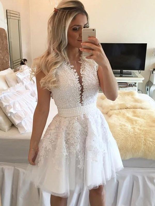 A-Line/Princess Sleeveless V-neck Tulle Beading Short/Mini Dresses