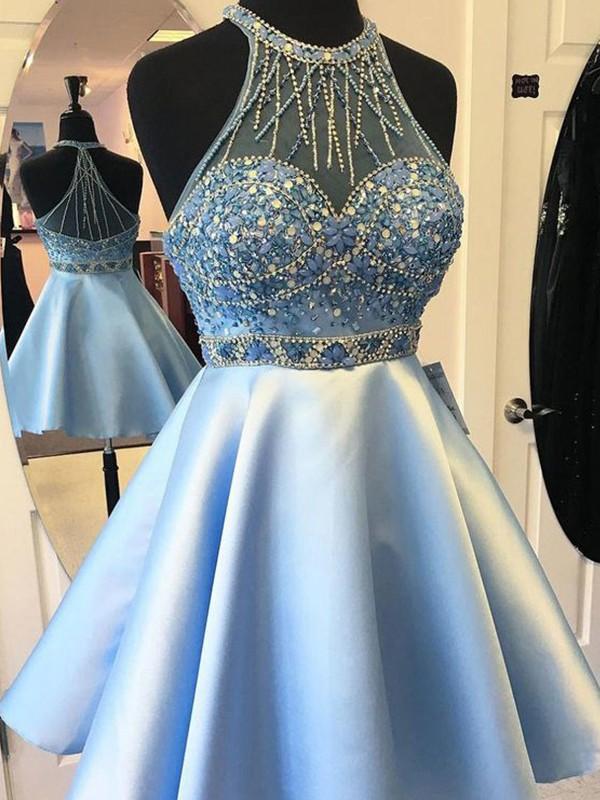 A-Line/Princess Halter Satin Sash/Ribbon/Belt Sleeveless Short/Mini Dresses