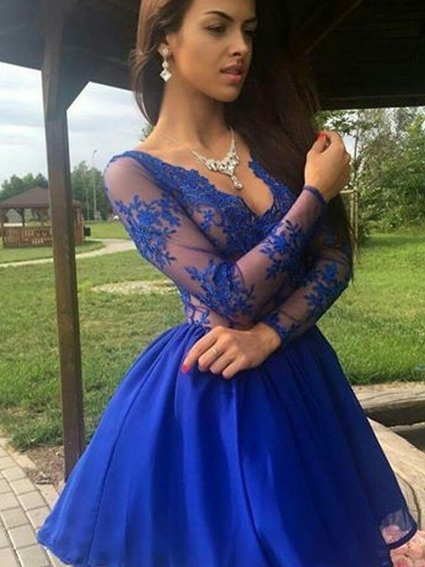 A-Line/Princess Organza V-neck Applique Long Sleeves Short/Mini Dresses