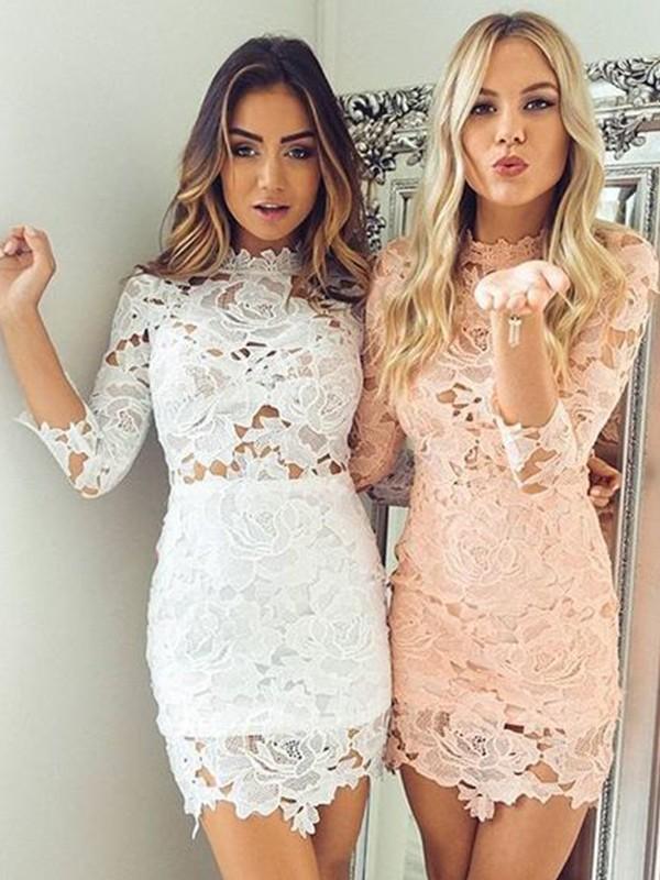 Sheath/Column Lace Applique High Neck 3/4 Sleeves Short/Mini Dresses