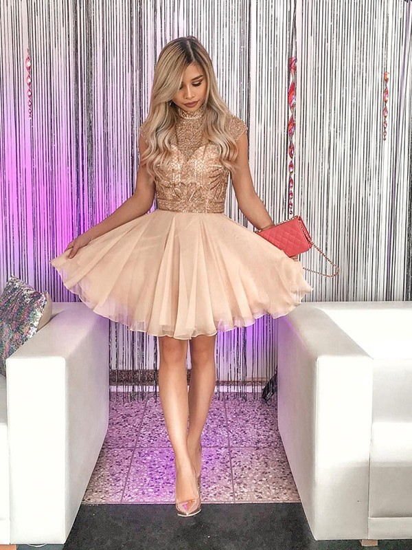 A-Line/Princess Sleeveless High Neck Chiffon Beading Short/Mini Dresses