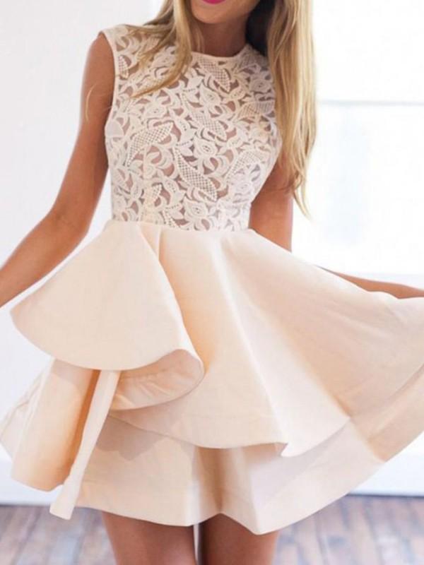 A-Line/Princess Satin Scoop Applique Sleeveless Short/Mini Dresses