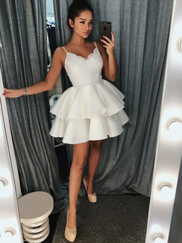 A-Line/Princess Satin Ruffles Spaghetti Straps Sleeveless Short/Mini Dresses