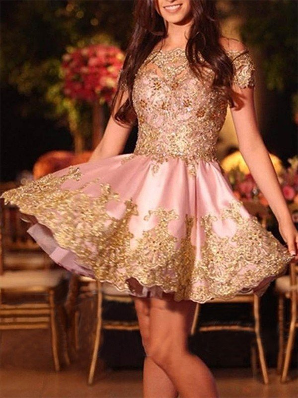A-Line Off-the-Shoulder Cut Short With Applique Satin Homecoming Dresses