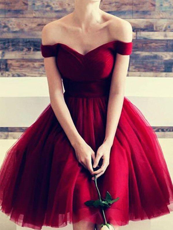 A-Line Off-the-Shoulder Cut Short With Ruffles Tulle Red Homecoming Dresses