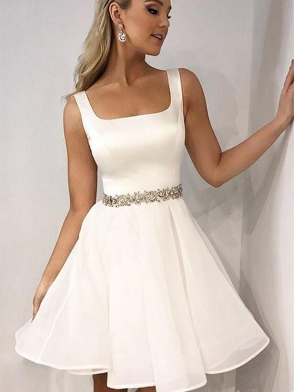 A-Line/Princess Sleeveless Straps Chiffon Beading Short/Mini Dresses