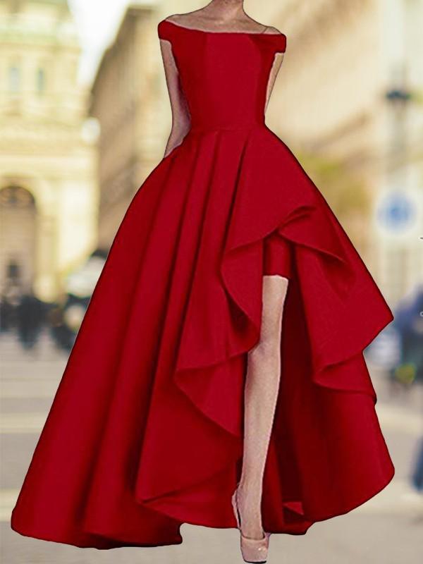 A-Line/Princess Sleeveless Off-the-Shoulder Asymmetrical Satin Dresses