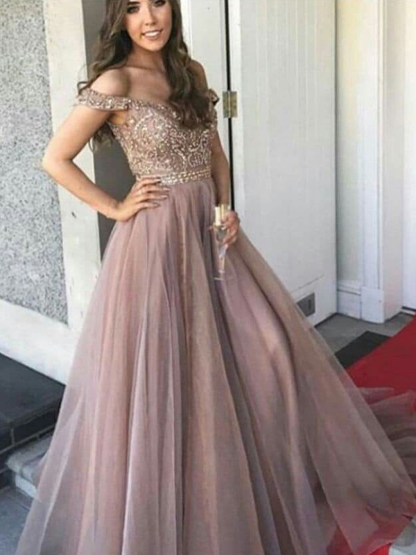 A-Line/Princess Sleeveless Off-the-Shoulder Floor-Length Tulle Beading Dresses