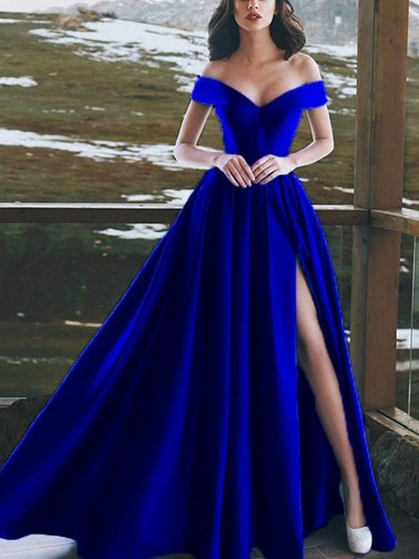 A-Line/Princess Sleeveless Off-the-Shoulder Floor-Length Ruffles Satin Dresses