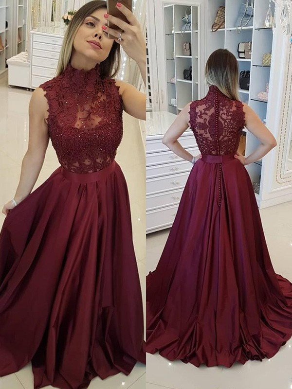 A-Line/Princess Sleeveless High Neck Sweep/Brush Train Applique Satin Dresses