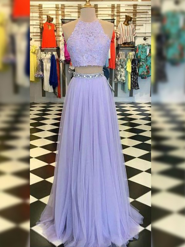 A-Line/Princess Tulle Lace Halter Sleeveless Floor-Length Two Piece Dresses
