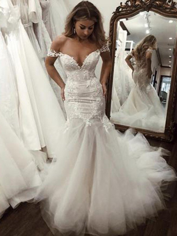 Trumpet/Mermaid Tulle Applique Off-the-Shoulder Sleeveless Sweep/Brush Train Wedding Dresses