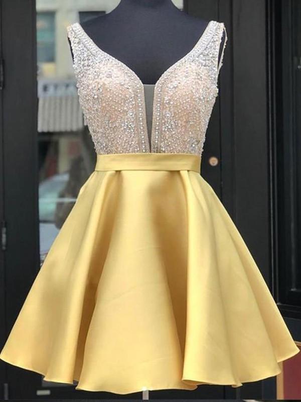 A-Line/Princess Satin Beading V-neck Sleeveless Short/Mini Homecoming Dress