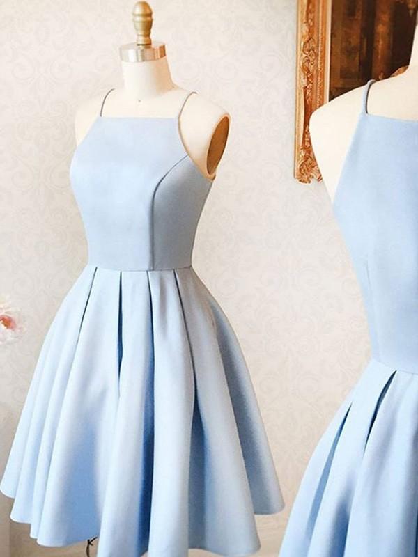 A-Line/Princess Satin Ruffles Spaghetti Straps Sleeveless Short/Mini Homecoming Dresses