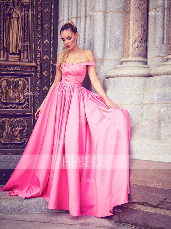 A-Line/Princess Satin Ruched Off-the-Shoulder Sleeveless Floor-Length Dresses