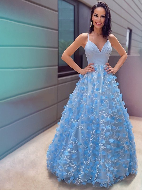 A-Line/Princess V-neck Tulle Applique Floor-Length Sleeveless Dresses