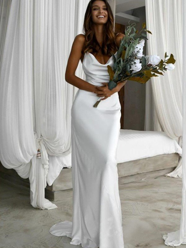 Sheath/Column Silk like Satin Ruched Spaghetti Straps Sweep/Brush Train Sleeveless Wedding Dresses