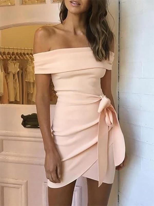 Sheath/Column Off-the-Shoulder Stretch Crepe Sash/Ribbon/Belt Sleeveless Short/Mini Homecoming Dresses