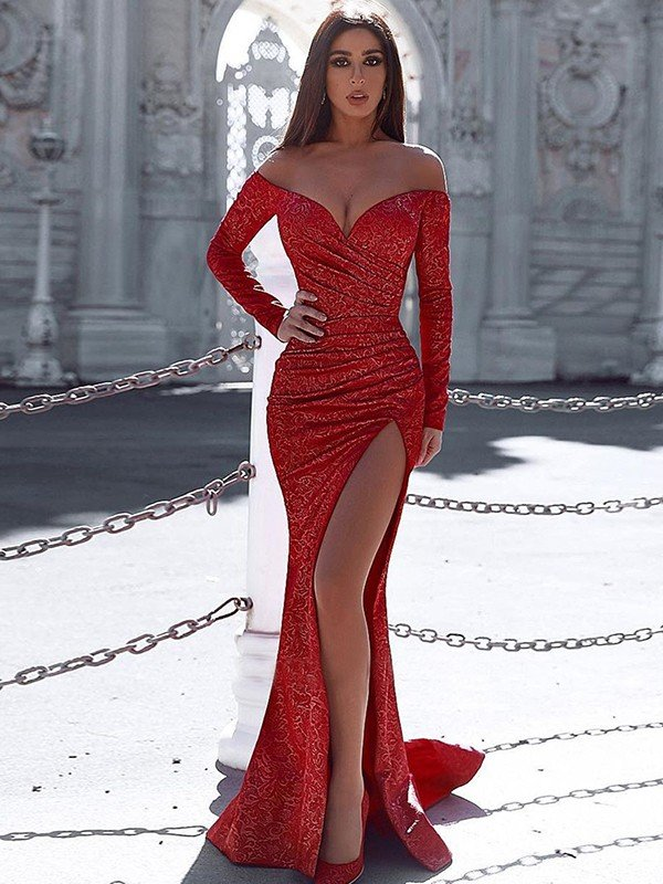 Trumpet/Mermaid Sweep/Brush Train Off-the-Shoulder Ruched Long Sleeves Satin Dresses