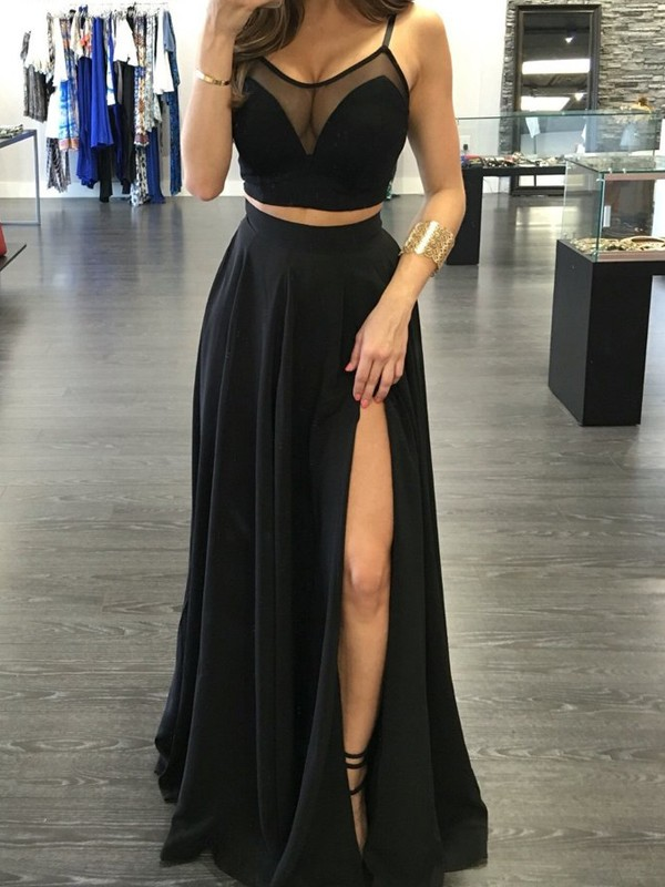A-Line/Princess Spaghetti Straps Sleeveless Floor-Length Chiffon Two Piece Dresses