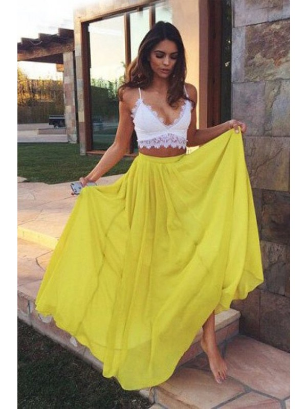 A-Line/Princess Straps Sleeveless Floor-Length Lace Chiffon Two Piece Dresses