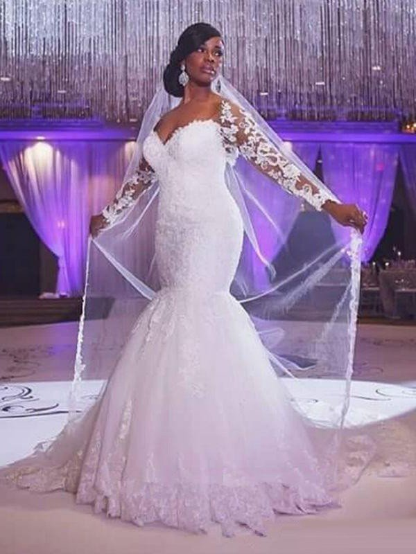 Trumpet/Mermaid Long Sleeves Sweetheart Sweep/Brush Train Applique Tulle Wedding Dresses