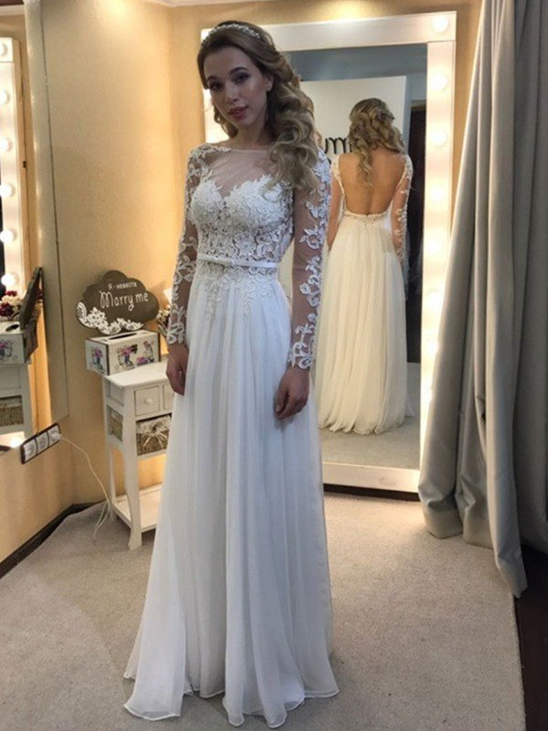 A Line Princess Bateau Floor Length Long Sleeves Lace Chiffon Wedding Dresses