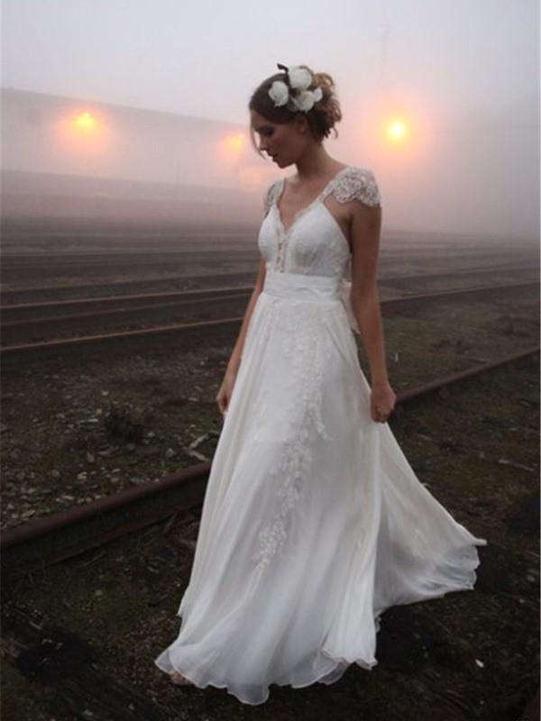 A-Line/Princess V-neck Floor-Length Sleeveless Lace Chiffon Wedding Dresses